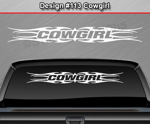 "Design #113 Cowgirl - Windshield Window Tribal Flame Vinyl Sticker Decal Graphic Banner 36""x4.25""+"
