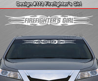 "Design #113 Firefighter's Girl - Windshield Window Tribal Flame Vinyl Sticker Decal Graphic Banner 36""x4.25""+"