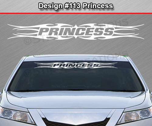 "Design #113 Princess - Windshield Window Tribal Flame Vinyl Sticker Decal Graphic Banner 36""x4.25""+"