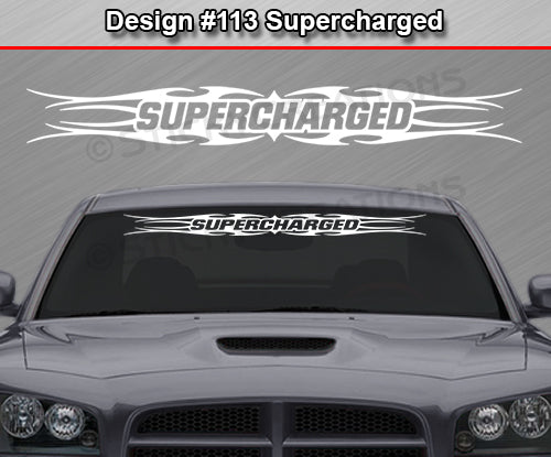 "Design #113 Supercharged - Windshield Window Tribal Flame Vinyl Sticker Decal Graphic Banner 36""x4.25""+"