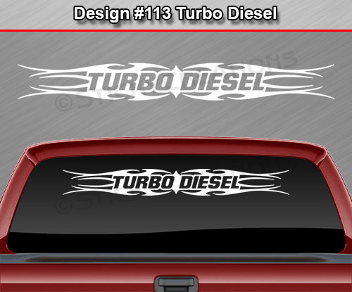 "Design #113 Turbo Diesel - Windshield Window Tribal Flame Vinyl Sticker Decal Graphic Banner 36""x4.25""+"