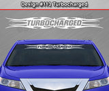 "Design #113 Turbocharged - Windshield Window Tribal Flame Vinyl Sticker Decal Graphic Banner 36""x4.25""+"