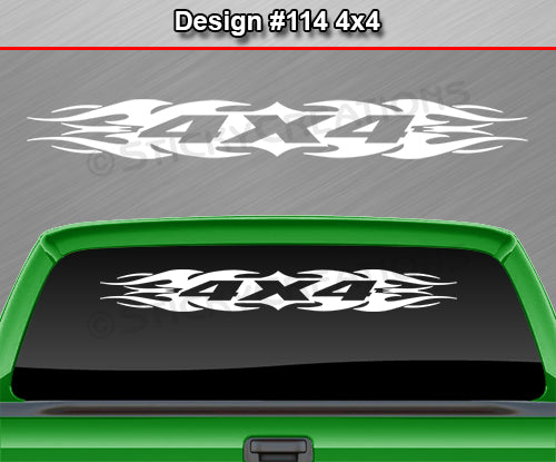 "Design #114 4x4 - Windshield Window Tribal Flame Vinyl Sticker Decal Graphic Banner Truck 36""x4.25""+"