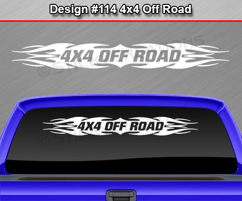 "Design #114 4x4 Off Road - Windshield Window Tribal Flame Vinyl Sticker Decal Graphic Banner Truck 36""x4.25""+"