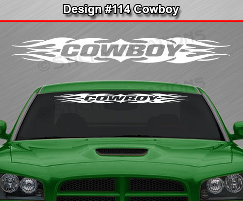 "Design #114 Cowboy - Windshield Window Tribal Flame Vinyl Sticker Decal Graphic Banner 36""x4.25""+"