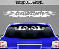 "Design #114 Cowgirl - Windshield Window Tribal Flame Vinyl Sticker Decal Graphic Banner 36""x4.25""+"
