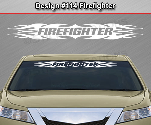 "Design #114 Firefighter - Windshield Window Tribal Flame Vinyl Sticker Decal Graphic Banner 36""x4.25""+"