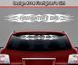 "Design #114 Firefighter's Girl - Windshield Window Tribal Flame Vinyl Sticker Decal Graphic Banner 36""x4.25""+"
