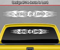 "Design #114 Jesus Is Lord - Windshield Window Tribal Flame Vinyl Sticker Decal Graphic Banner 36""x4.25""+"