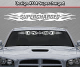 "Design #114 Supercharged - Windshield Window Tribal Flame Vinyl Sticker Decal Graphic Banner 36""x4.25""+"