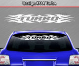"Design #114 Turbo - Windshield Window Tribal Flame Vinyl Sticker Decal Graphic Banner 36""x4.25""+"