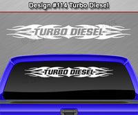 "Design #114 Turbo Diesel - Windshield Window Tribal Flame Vinyl Sticker Decal Graphic Banner 36""x4.25""+"