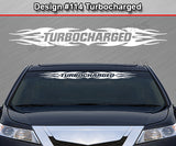 "Design #114 Turbocharged - Windshield Window Tribal Flame Vinyl Sticker Decal Graphic Banner 36""x4.25""+"