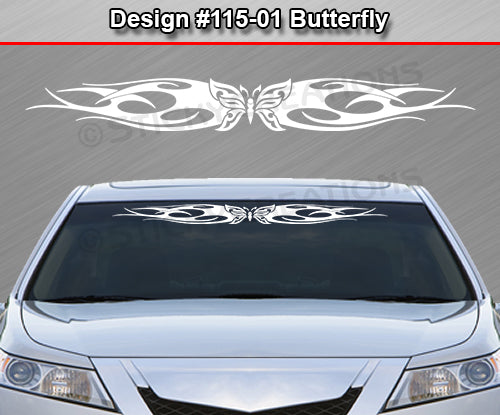 "Design #115 Butterfly - Windshield Window Tribal Flame Vinyl Sticker Decal Graphic Banner 36""x4.25""+"