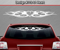 "Design #115 Heart - Windshield Window Tribal Flame Vinyl Sticker Decal Graphic Banner 36""x4.25""+"