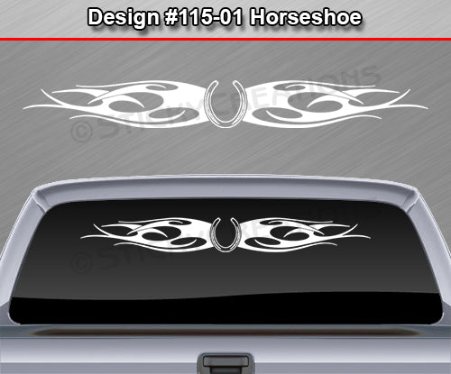 "Design #115 Horseshoe - Windshield Window Tribal Flames Vinyl Sticker Decal Graphic Banner 36""x4.25""+"