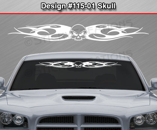 "Design #115 Skull - Windshield Window Tribal Flame Vinyl Sticker Decal Graphic Banner 36""x4.25""+"