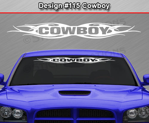 "Design #115 Cowboy - Windshield Window Tribal Flame Vinyl Sticker Decal Graphic Banner 36""x4.25""+"