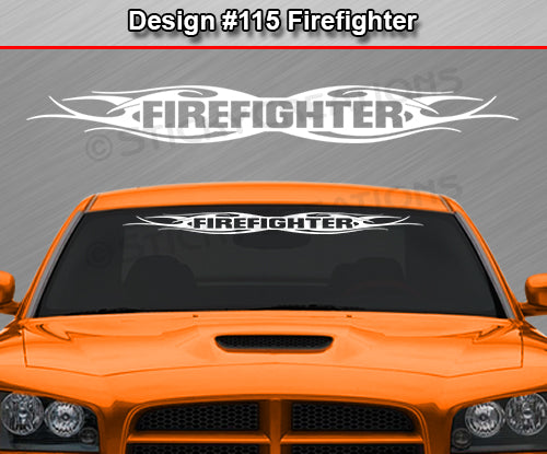 "Design #115 Firefighter - Windshield Window Tribal Flame Vinyl Sticker Decal Graphic Banner 36""x4.25""+"