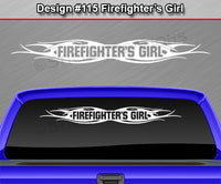"Design #115 Firefighter's Girl - Windshield Window Tribal Flame Vinyl Sticker Decal Graphic Banner 36""x4.25""+"