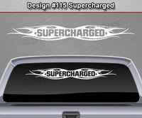 "Design #115 Supercharged - Windshield Window Tribal Flame Vinyl Sticker Decal Graphic Banner 36""x4.25""+"
