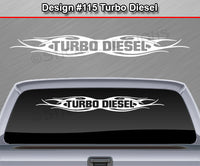 "Design #115 Turbo Diesel - Windshield Window Tribal Flame Vinyl Sticker Decal Graphic Banner 36""x4.25""+"