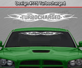 "Design #115 Turbocharged - Windshield Window Tribal Flame Vinyl Sticker Decal Graphic Banner 36""x4.25""+"