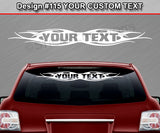 "Design #115 Your Text - Custom Personalized Windshield Window Tribal Flame Vinyl Sticker Decal Graphic Banner 36""x4.25""+"