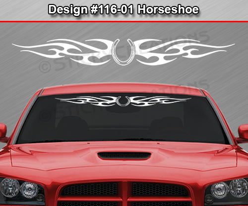 "Design #116 Horseshoe - Windshield Window Tribal Flames Vinyl Sticker Decal Graphic Banner 36""x4.25""+"