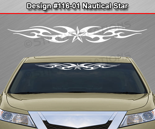 "Design #116 Nautical Star - Windshield Window Tribal Flame Vinyl Sticker Decal Graphic Banner 36""x4.25""+"