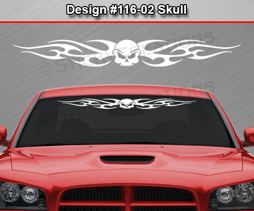 "Design #116 Skull - Windshield Window Tribal Flame Vinyl Sticker Decal Graphic Banner 36""x4.25""+"
