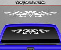 "Design #116 Heart - Windshield Window Tribal Flame Vinyl Sticker Decal Graphic Banner 36""x4.25""+"