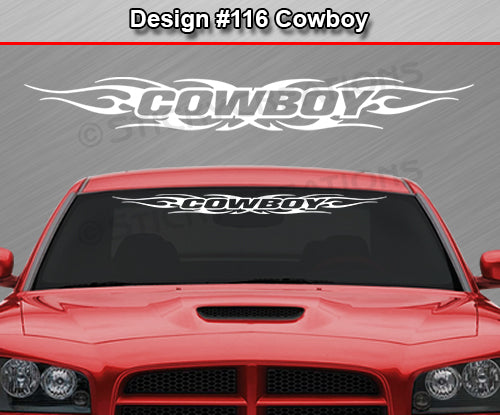 "Design #116 Cowboy - Windshield Window Tribal Flame Vinyl Sticker Decal Graphic Banner 36""x4.25""+"