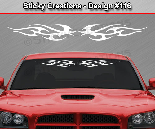 "Design #116 - 36""x4.25"" + Windshield Window Tribal Flame Vinyl Sticker Decal Graphic Banner"