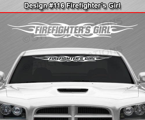 "Design #116 Firefighter's Girl - Windshield Window Tribal Flame Vinyl Sticker Decal Graphic Banner 36""x4.25""+"