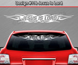 "Design #116 Jesus Is Lord - Windshield Window Tribal Flame Vinyl Sticker Decal Graphic Banner 36""x4.25""+"
