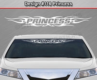 "Design #116 Princess - Windshield Window Tribal Flame Vinyl Sticker Decal Graphic Banner 36""x4.25""+"