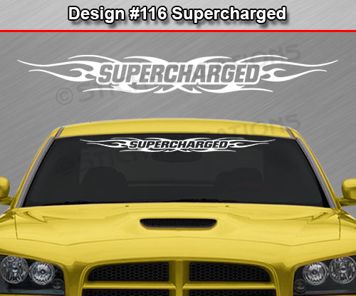 "Design #116 Supercharged - Windshield Window Tribal Flame Vinyl Sticker Decal Graphic Banner 36""x4.25""+"