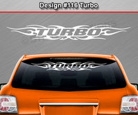 "Design #116 Turbo - Windshield Window Tribal Flame Vinyl Sticker Decal Graphic Banner 36""x4.25""+"