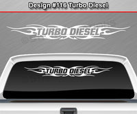 "Design #116 Turbo Diesel - Windshield Window Tribal Flame Vinyl Sticker Decal Graphic Banner 36""x4.25""+"