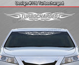 "Design #116 Turbocharged - Windshield Window Tribal Flame Vinyl Sticker Decal Graphic Banner 36""x4.25""+"