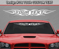 "Design #116 Your Text - Custom Personalized Windshield Window Tribal Flame Vinyl Sticker Decal Graphic Banner 36""x4.25""+"