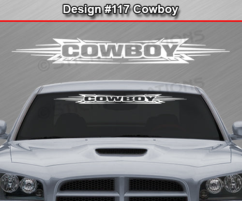 "Design #117 Cowboy - Windshield Window Tribal Accent Vinyl Sticker Decal Graphic Banner 36""x4.25""+"