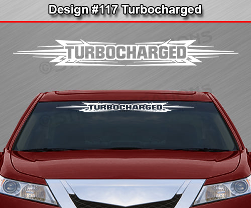 "Design #117 Turbocharged - Windshield Window Tribal Accent Vinyl Sticker Decal Graphic Banner 36""x4.25""+"