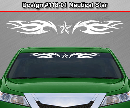 "Design #118 Nautical Star - Windshield Window Tribal Blade Vinyl Sticker Decal Graphic Banner 36""x4.25""+"