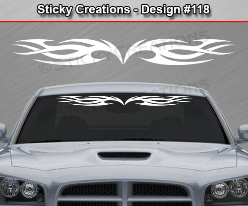 "Design #118 - 36""x4.25"" + Windshield Window Tribal Flame Vinyl Sticker Decal Graphic Banner"