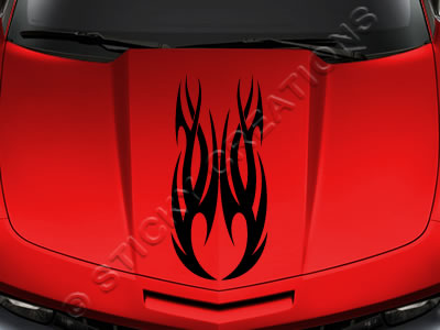Design #118 Hood - Tribal Flame Decal Sticker Vinyl Graphic Car Truck SUV Vehicle