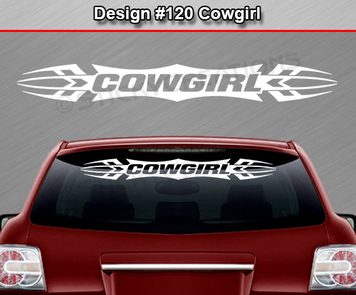 "Design #120 Cowgirl - Windshield Window Tribal Accent Vinyl Sticker Decal Graphic Banner 36""x4.25""+"