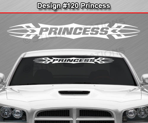 "Design #120 Princess - Windshield Window Tribal Accent Vinyl Sticker Decal Graphic Banner 36""x4.25""+"