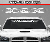 "Design #120 Supercharged - Windshield Window Tribal Accent Vinyl Sticker Decal Graphic Banner 36""x4.25""+"